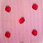 Bienenwachstuch Motiv Erdbeere rosa gestreift